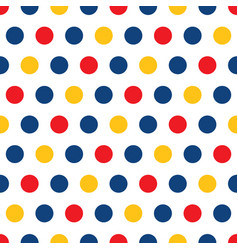 Red blue yellow polka dots on white background vector