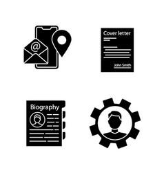 resume glyph icons set vector image