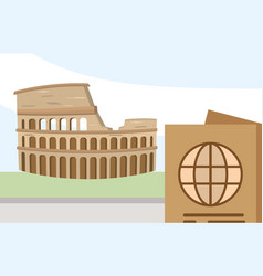 roman coliseum passport tourist vacation travel vector image