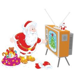 Santa turning on his TV vector