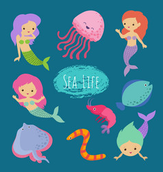 sea life cartoon character animals and mermaids vector image