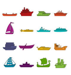 Sea transport icons doodle set vector