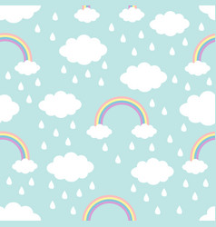 Seamless pattern cloud rainbow rain drop in the vector