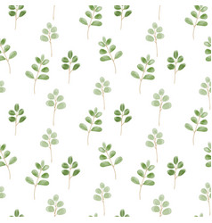 seamless pattern with cute leaves on white vector image