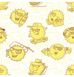 Seamless pattern with sun characters vector