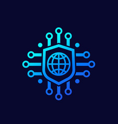 Secure network and online security icon vector