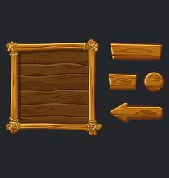 Set cartoon wood assets interface and buttons vector