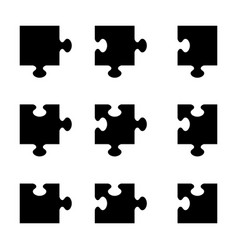 set of black jigsaw puzzle pieces vector image