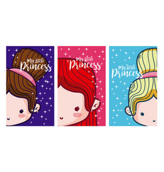 Set of cards for girls vector