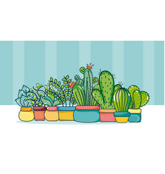 Set of cute houseplants cartoons vector