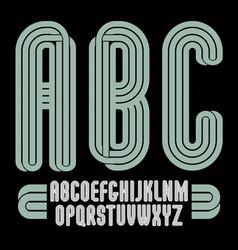 Set of tall upper case funky english alphabet vector