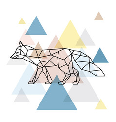 silhouette of a geometric fox side view vector image