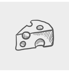Sliced of cheese sketch icon vector