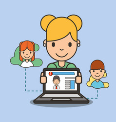 social media girl chatting online with her friend vector image