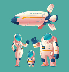 Spaceman family in spacesuit with spaceship vector