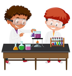 Students experiment in the lab vector