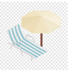 sun lounger and parasol isometric icon vector image