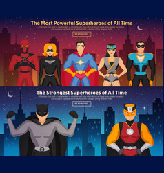 Superheroes horizontal banners vector