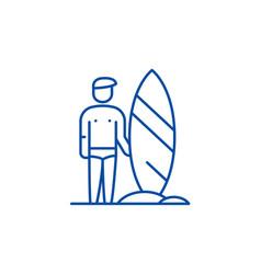 surfer line icon concept surfer flat vector image