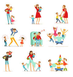 Tired parents and their children set parenting vector