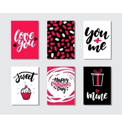 Valentines day gift card set Hand drawn vector
