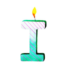 Watercolor happy birthday letter i candle vector