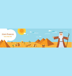 web banner with moses from passover story and vector image