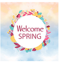 welcome spring floral circle watercolor background vector image vector image