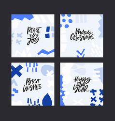 winter holiday lettering set vector image