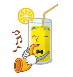 With trumpet lemon juice glass on character table vector
