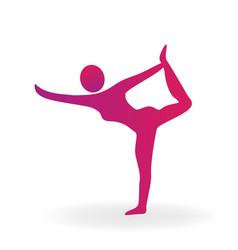 woman gimnastic fitness sport pose logo vector image