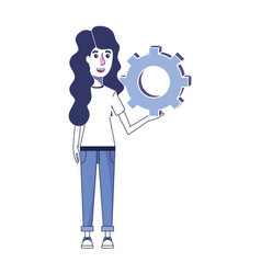 Woman with casual clothes and industry gear vector