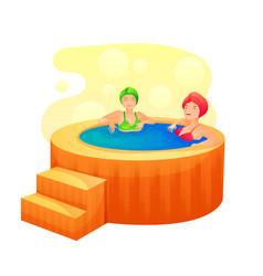 women taking hot bath tub flat vector image