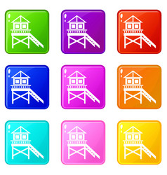 wooden stilt house icons 9 set vector image