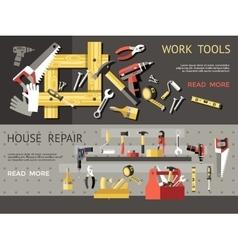 Work Tools Concept Banner Set vector