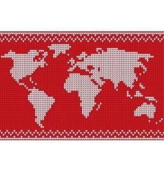 World map lovely knitting style vector