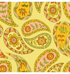 Yellow ethnic seamless floral pattern vector image