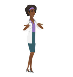 african confused doctor shrugging shoulders vector image vector image