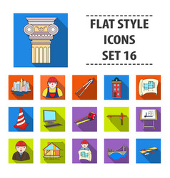 architect set icons in flat style big collection vector image