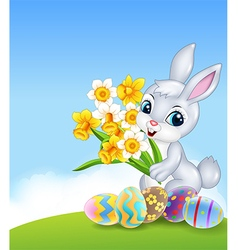 Cartoon happy bunny holding flower with colourful vector image vector image