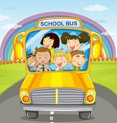Children riding in the school bus vector image vector image