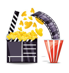 clapperboard with popcorn and filmstrip scene vector image vector image