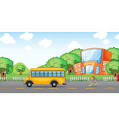 girl running behind school bus vector image