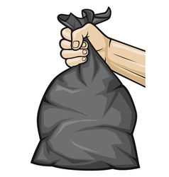 hand holding black plastic trash bag vector image vector image
