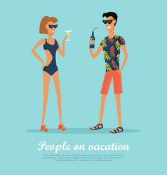 people on vacation drinking cocktails on rest vector image vector image