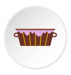 wooden bucket with foam icon circle vector image