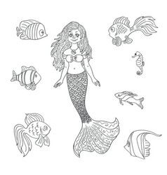 hand drawn mermaid and fish isolated on the white vector image