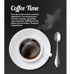 Print with realistic coffee cup vector image