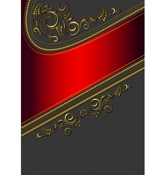 Red border with gold pattern vector image