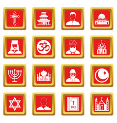 religious symbol icons set red vector image vector image
